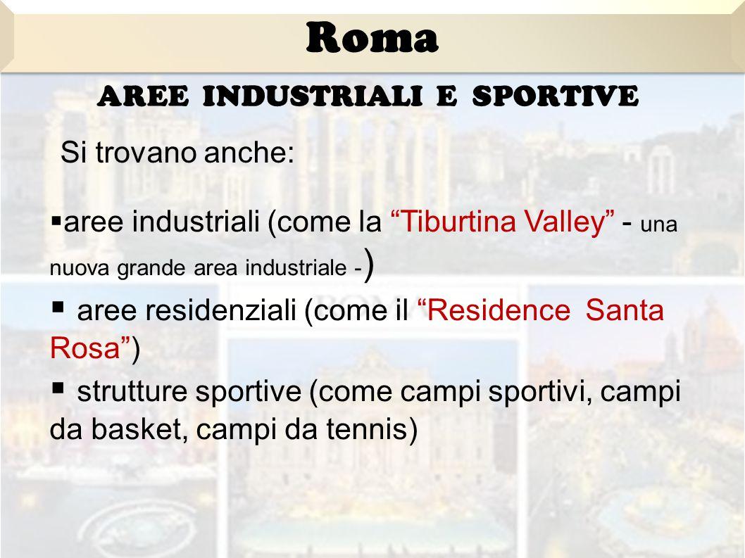 AREE INDUSTRIALI E SPORTIVE aaree industriali (come la Tiburtina Valley - una nuova grande area industriale - )  a aree residenziali (come il Residence Santa Rosa )  s strutture sportive (come campi sportivi, campi da basket, campi da tennis) Si trovano anche: Roma