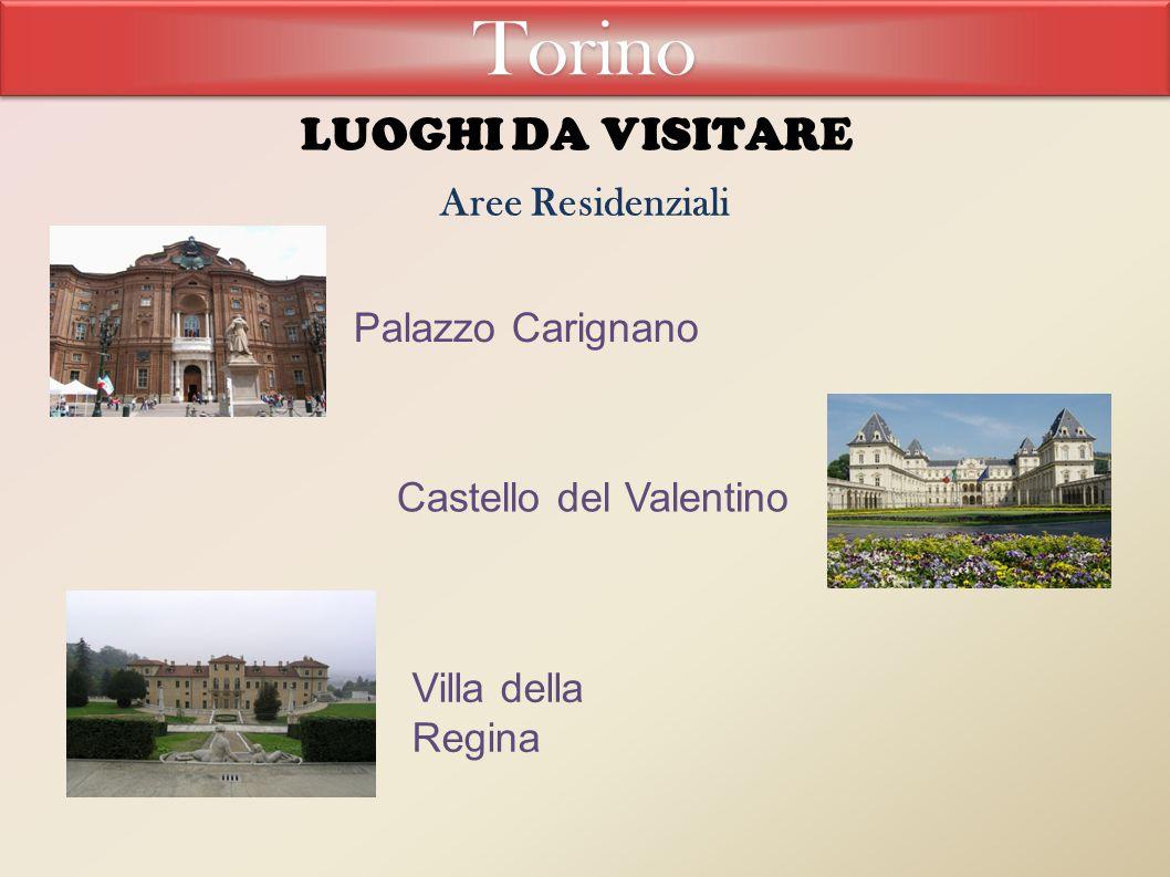 LUOGHI DA VISITARE Aree Residenziali Palazzo Carignano Castello del Valentino Villa della Regina Torino
