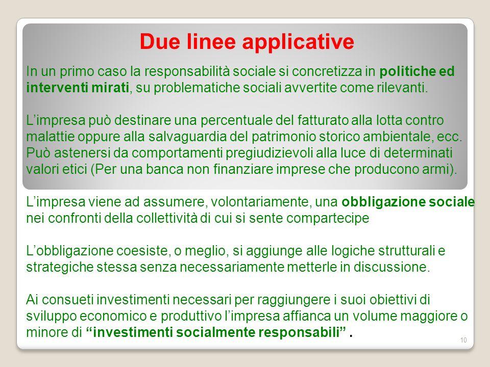 Due linee applicative 10 In un primo caso la responsabilità sociale si concretizza in politiche ed interventi mirati, su problematiche sociali avverti