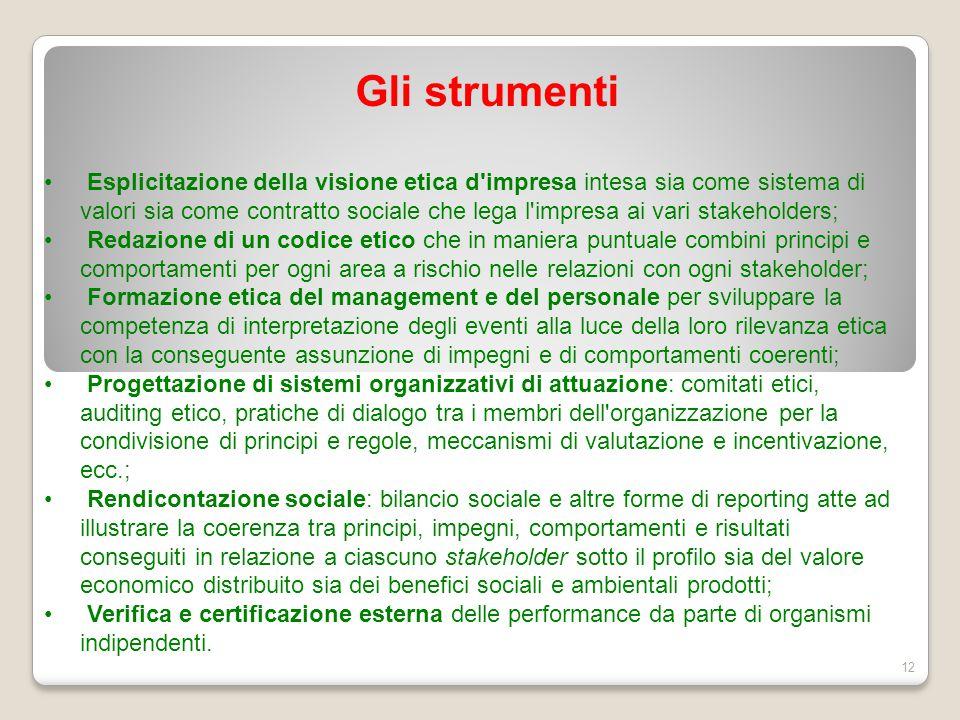 Gli strumenti 12 Esplicitazione della visione etica d'impresa intesa sia come sistema di valori sia come contratto sociale che lega l'impresa ai vari