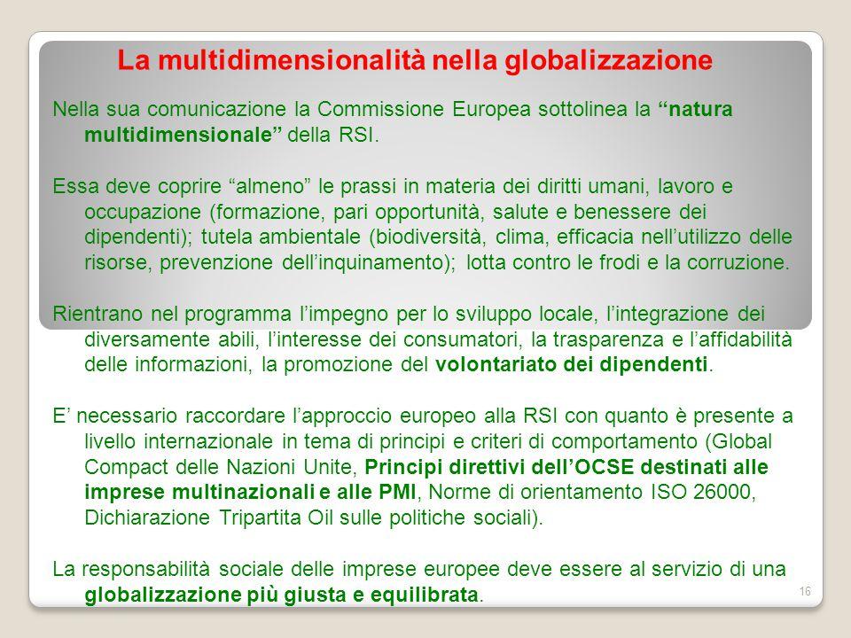 """La multidimensionalità nella globalizzazione 16 Nella sua comunicazione la Commissione Europea sottolinea la """"natura multidimensionale"""" della RSI. Ess"""