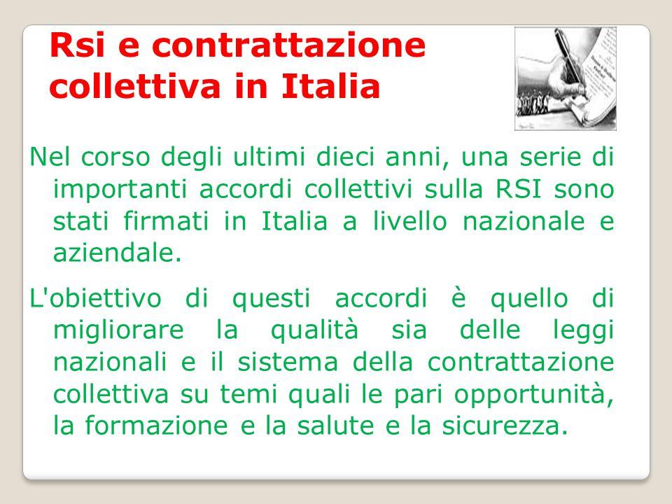 Rsi e contrattazione collettiva in Italia Nel corso degli ultimi dieci anni, una serie di importanti accordi collettivi sulla RSI sono stati firmati i
