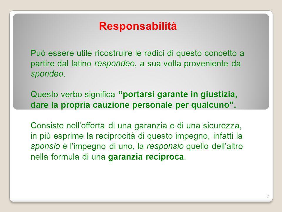 Responsabilità 2 Può essere utile ricostruire le radici di questo concetto a partire dal latino respondeo, a sua volta proveniente da spondeo. Questo