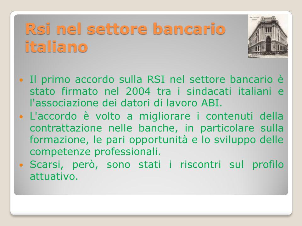 Rsi nel settore bancario italiano Il primo accordo sulla RSI nel settore bancario è stato firmato nel 2004 tra i sindacati italiani e l'associazione d