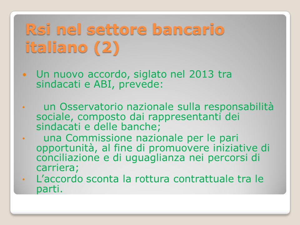 Rsi nel settore bancario italiano (2) Un nuovo accordo, siglato nel 2013 tra sindacati e ABI, prevede: un Osservatorio nazionale sulla responsabilità