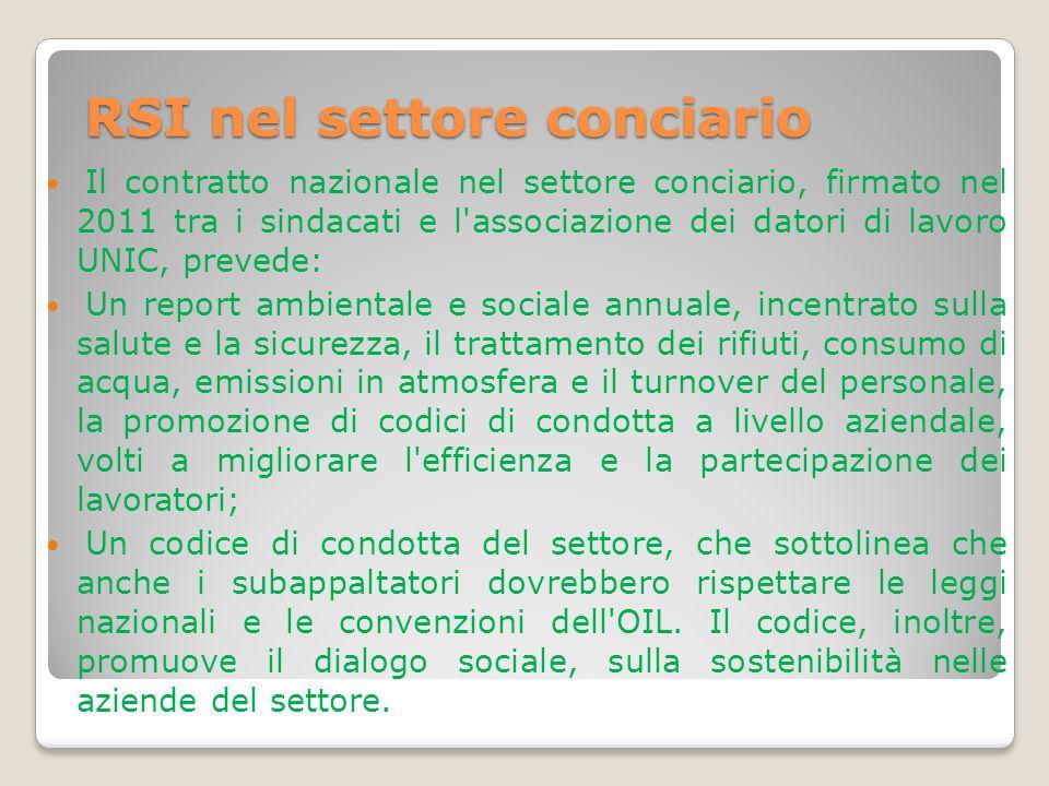 RSI nel settore conciario Il contratto nazionale nel settore conciario, firmato nel 2011 tra i sindacati e l'associazione dei datori di lavoro UNIC, p