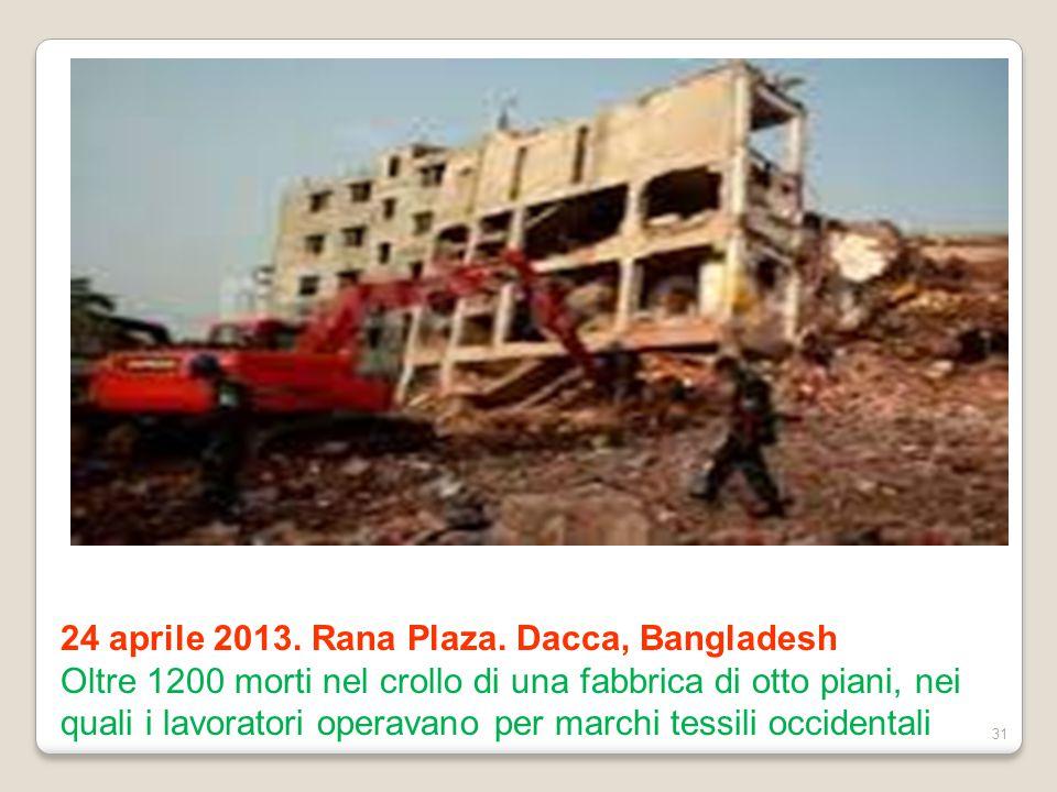 24 aprile 2013. Rana Plaza. Dacca, Bangladesh Oltre 1200 morti nel crollo di una fabbrica di otto piani, nei quali i lavoratori operavano per marchi t