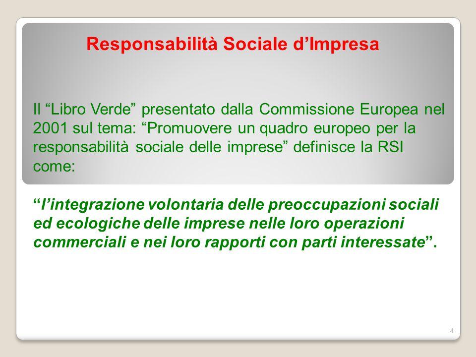 """Responsabilità Sociale d'Impresa 4 Il """"Libro Verde"""" presentato dalla Commissione Europea nel 2001 sul tema: """"Promuovere un quadro europeo per la respo"""