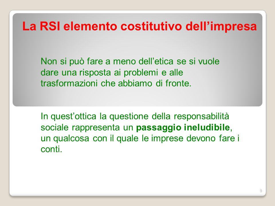 La RSI elemento costitutivo dell'impresa 9 Non si può fare a meno dell'etica se si vuole dare una risposta ai problemi e alle trasformazioni che abbia