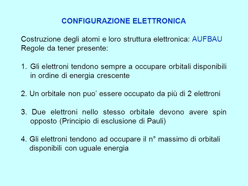 LA CONFIGURAZIONE ELETTRONICA ovvero il modo in cui gli elettroni si dispongono negli orbitali La configurazione elettronica di un atomo si ottiene fa
