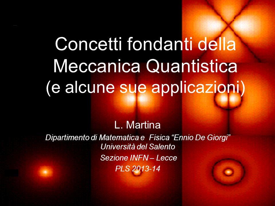 """Concetti fondanti della Meccanica Quantistica (e alcune sue applicazioni) L. Martina Dipartimento di Matematica e Fisica """"Ennio De Giorgi"""" Università"""