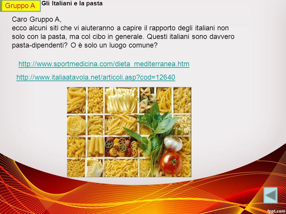 GRUPPO A - Gli Italiani e la pasta Caro Gruppo A, ecco alcuni siti che vi aiuteranno a capire il rapporto degli italiani non solo con la pasta, ma col cibo in generale.