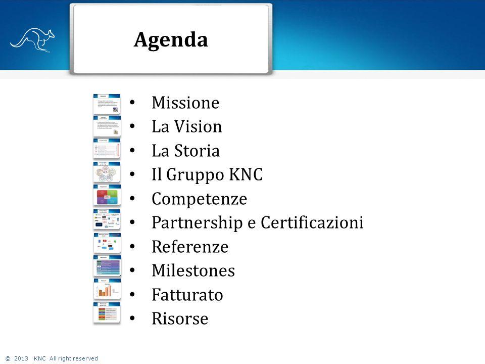 © 2013 KNC All right reserved Agenda 2 Missione La Vision La Storia Il Gruppo KNC Competenze Partnership e Certificazioni Referenze Milestones Fatturato Risorse