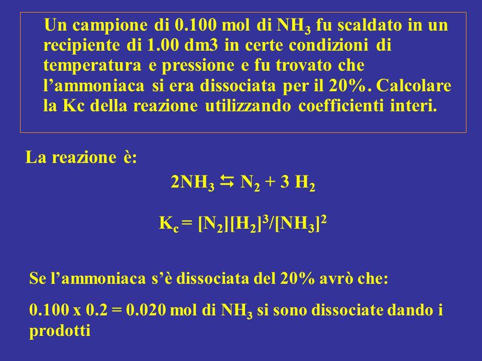 Un campione di 0.100 mol di NH 3 fu scaldato in un recipiente di 1.00 dm3 in certe condizioni di temperatura e pressione e fu trovato che l'ammoniaca
