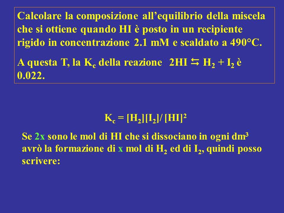 K c = [H 2 ][I 2 ]/ [HI] 2 Se 2x sono le mol di HI che si dissociano in ogni dm 3 avrò la formazione di x mol di H 2 ed di I 2, quindi posso scrivere: