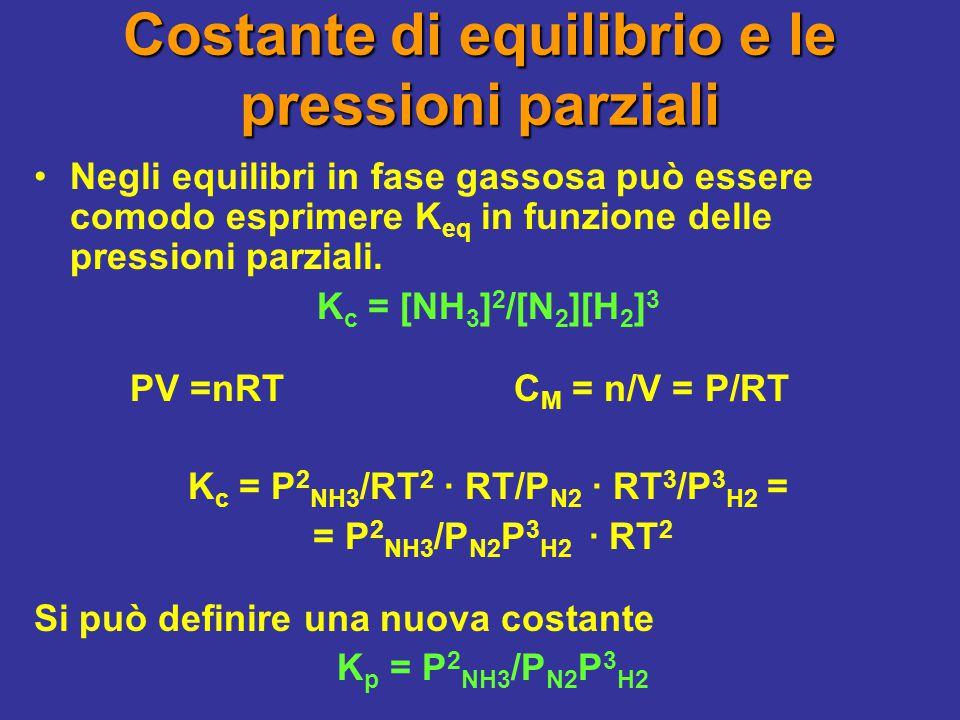 In generale: K p = K c (RT)  n dove  n = differenza fra le moli di prodotti e quelle di reagenti