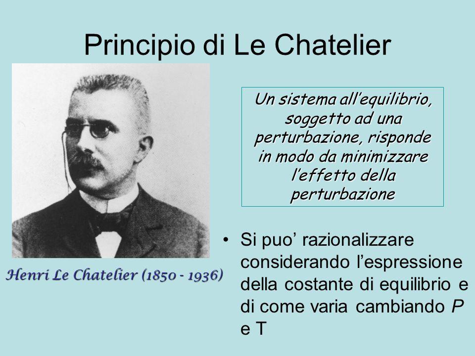 Si puo' razionalizzare considerando l'espressione della costante di equilibrio e di come varia cambiando P e T Henri Le Chatelier (1850 - 1936) Princi