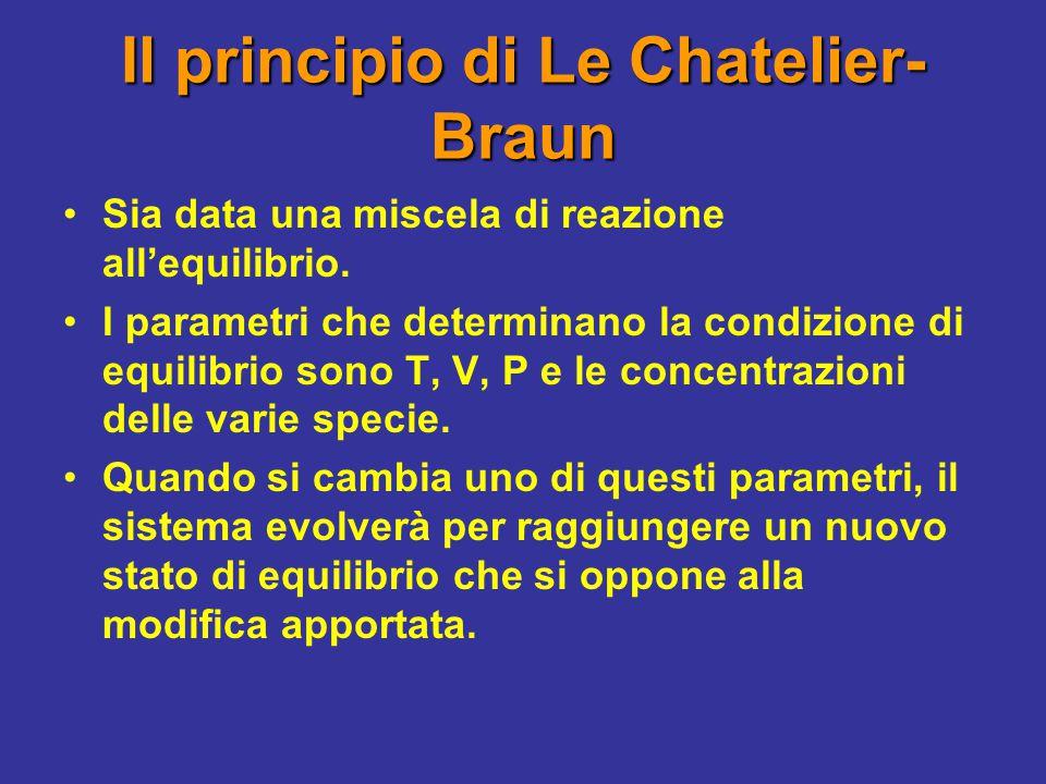 Principio di Le Chatelier-Braun e posizione dell'equilibrio Una variazione in P o nelle concentrazioni provocherà una variazione nelle concentrazioni all'equilibrio.