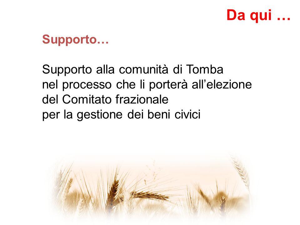 Supporto… Supporto alla comunità di Tomba nel processo che li porterà all'elezione del Comitato frazionale per la gestione dei beni civici Da qui …