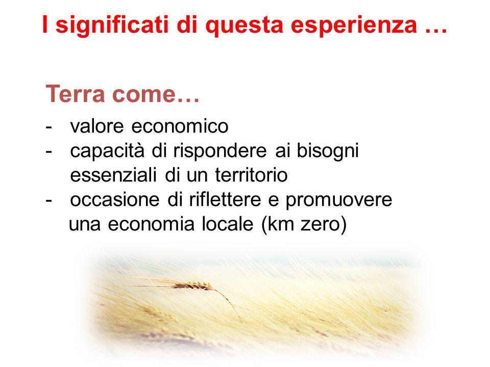 -valore economico -capacità di rispondere ai bisogni essenziali di un territorio -occasione di riflettere e promuovere una economia locale (km zero) Terra come… I significati di questa esperienza …