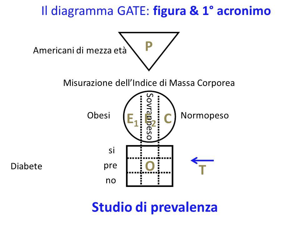 Il diagramma GATE: figura & 1° acronimo Americani di mezza età Misurazione dell'Indice di Massa Corporea (BMI) Glicemia P T Studio di prevalenza BMI alto bassa alta BMI basso EC O