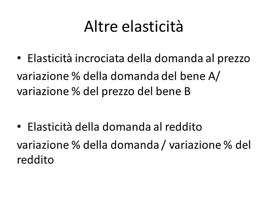 Altre elasticità Elasticità incrociata della domanda al prezzo variazione % della domanda del bene A/ variazione % del prezzo del bene B Elasticità della domanda al reddito variazione % della domanda / variazione % del reddito