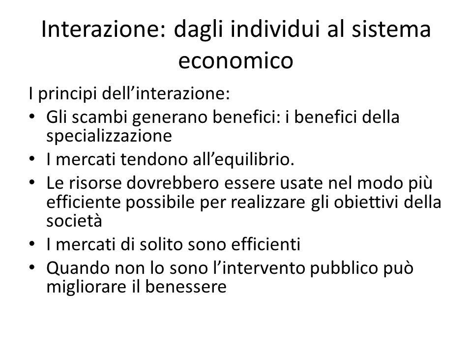 Interazione: dagli individui al sistema economico I principi dell'interazione: Gli scambi generano benefici: i benefici della specializzazione I mercati tendono all'equilibrio.