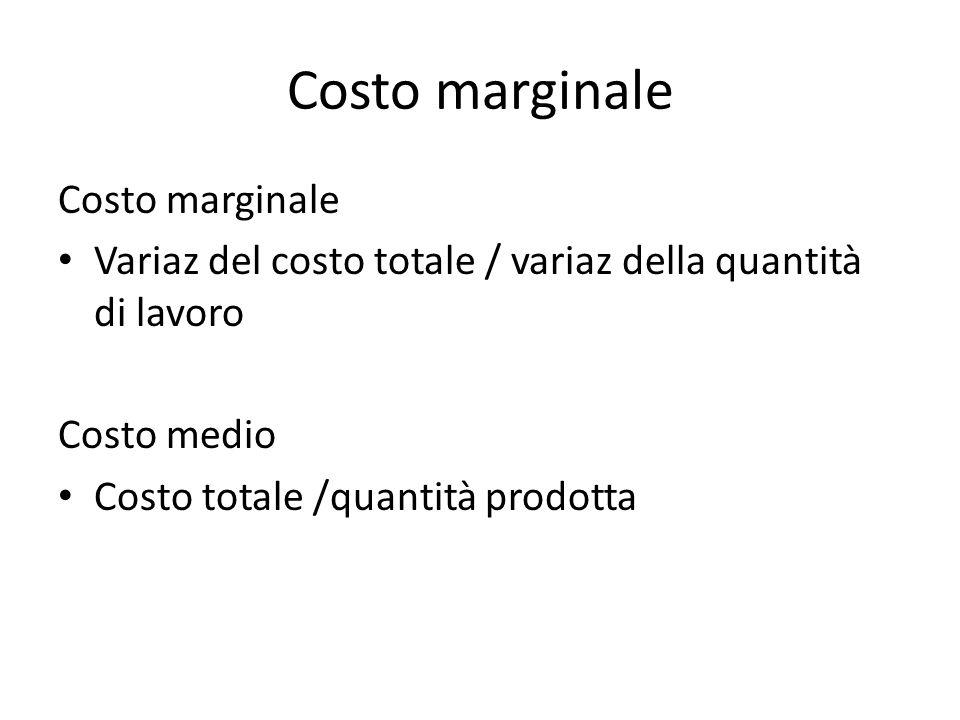 Costo marginale Variaz del costo totale / variaz della quantità di lavoro Costo medio Costo totale /quantità prodotta