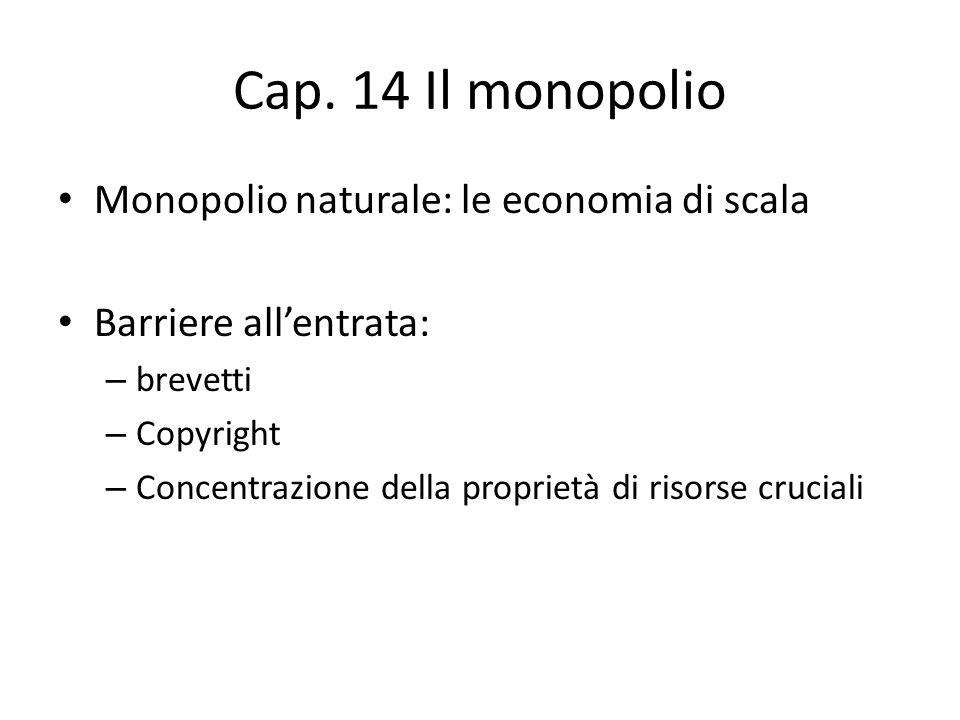 Cap. 14 Il monopolio Monopolio naturale: le economia di scala Barriere all'entrata: – brevetti – Copyright – Concentrazione della proprietà di risorse