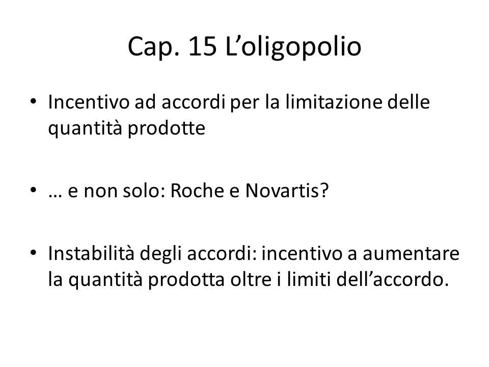 Cap. 15 L'oligopolio Incentivo ad accordi per la limitazione delle quantità prodotte … e non solo: Roche e Novartis? Instabilità degli accordi: incent
