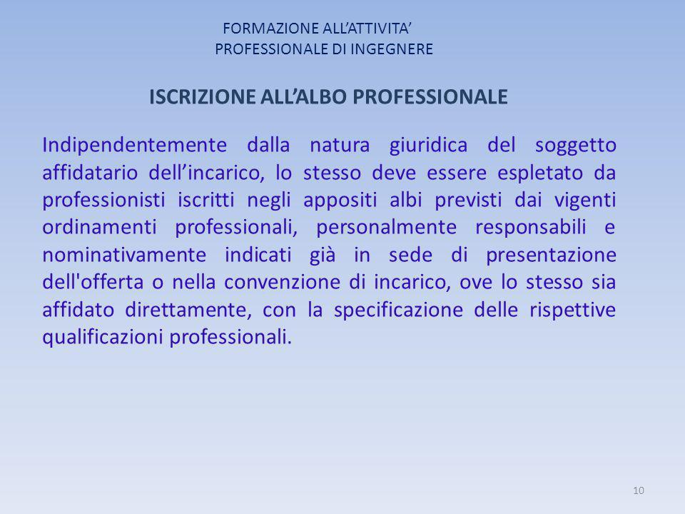 FORMAZIONE ALL'ATTIVITA' PROFESSIONALE DI INGEGNERE ISCRIZIONE ALL'ALBO PROFESSIONALE Indipendentemente dalla natura giuridica del soggetto affidatari