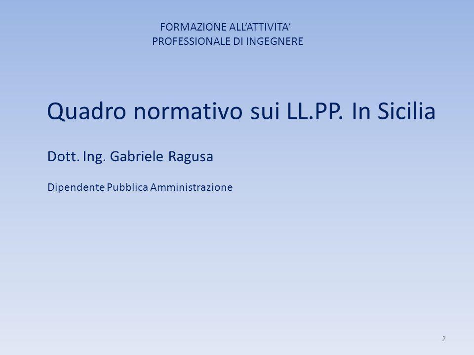 Quadro normativo sui LL.PP. In Sicilia Dott. Ing. Gabriele Ragusa Dipendente Pubblica Amministrazione FORMAZIONE ALL'ATTIVITA' PROFESSIONALE DI INGEGN