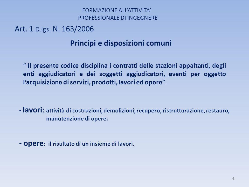 """Art. 1 D.lgs. N. 163/2006 FORMAZIONE ALL'ATTIVITA' PROFESSIONALE DI INGEGNERE Principi e disposizioni comuni """" Il presente codice disciplina i contrat"""