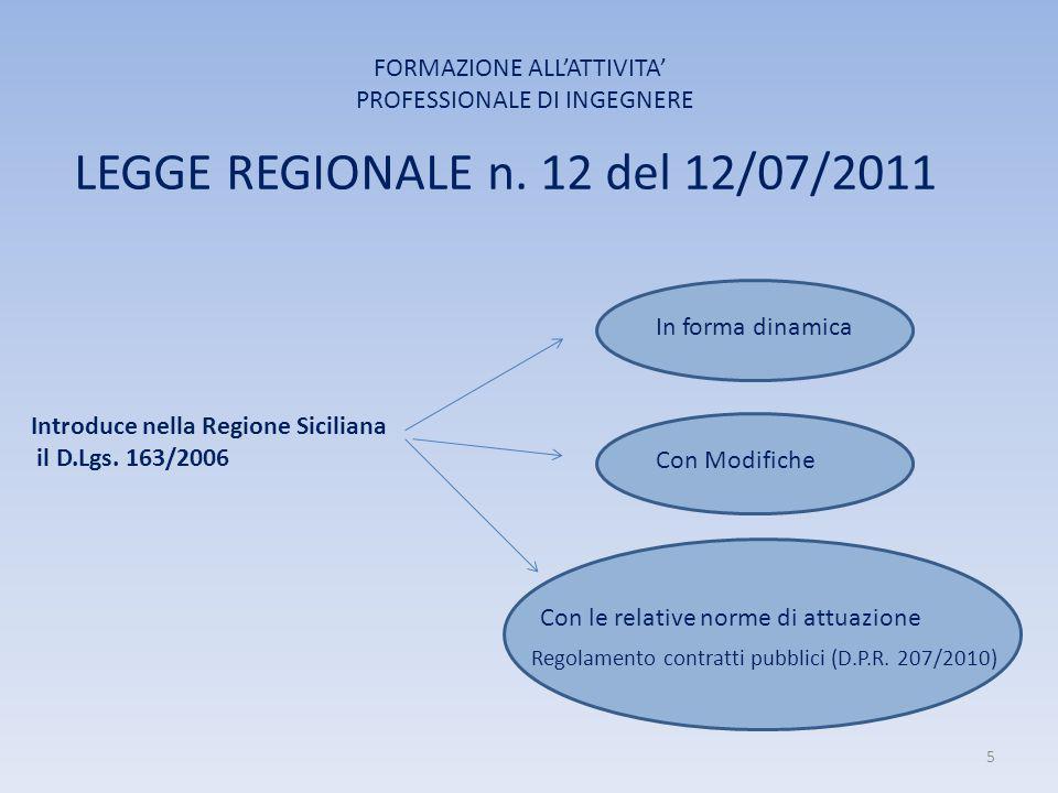 LEGGE REGIONALE n. 12 del 12/07/2011 FORMAZIONE ALL'ATTIVITA' PROFESSIONALE DI INGEGNERE Introduce nella Regione Siciliana il D.Lgs. 163/2006 In forma