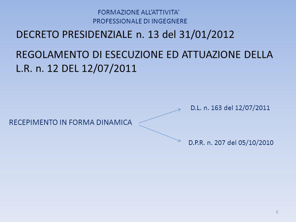 DECRETO PRESIDENZIALE n. 13 del 31/01/2012 RECEPIMENTO IN FORMA DINAMICA FORMAZIONE ALL'ATTIVITA' PROFESSIONALE DI INGEGNERE REGOLAMENTO DI ESECUZIONE