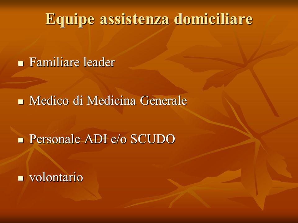 Equipe assistenza domiciliare Familiare leader Familiare leader Medico di Medicina Generale Medico di Medicina Generale Personale ADI e/o SCUDO Person