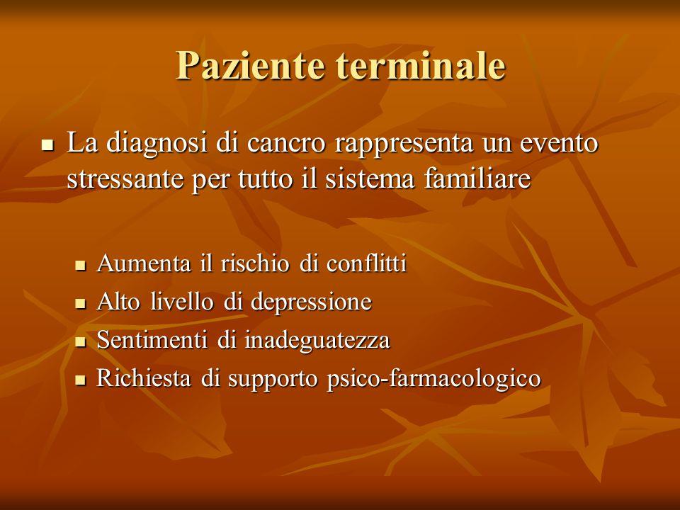 Paziente terminale La diagnosi di cancro rappresenta un evento stressante per tutto il sistema familiare La diagnosi di cancro rappresenta un evento s