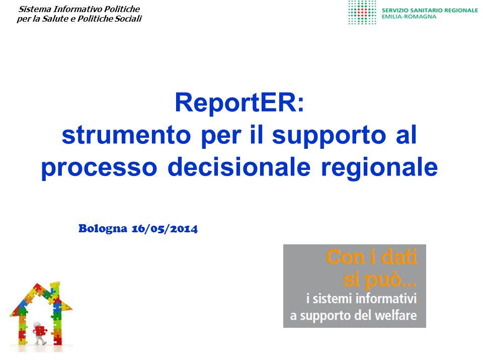 ReportER: strumento per il supporto al processo decisionale regionale Sistema Informativo Politiche per la Salute e Politiche Sociali Bologna 16/05/2014
