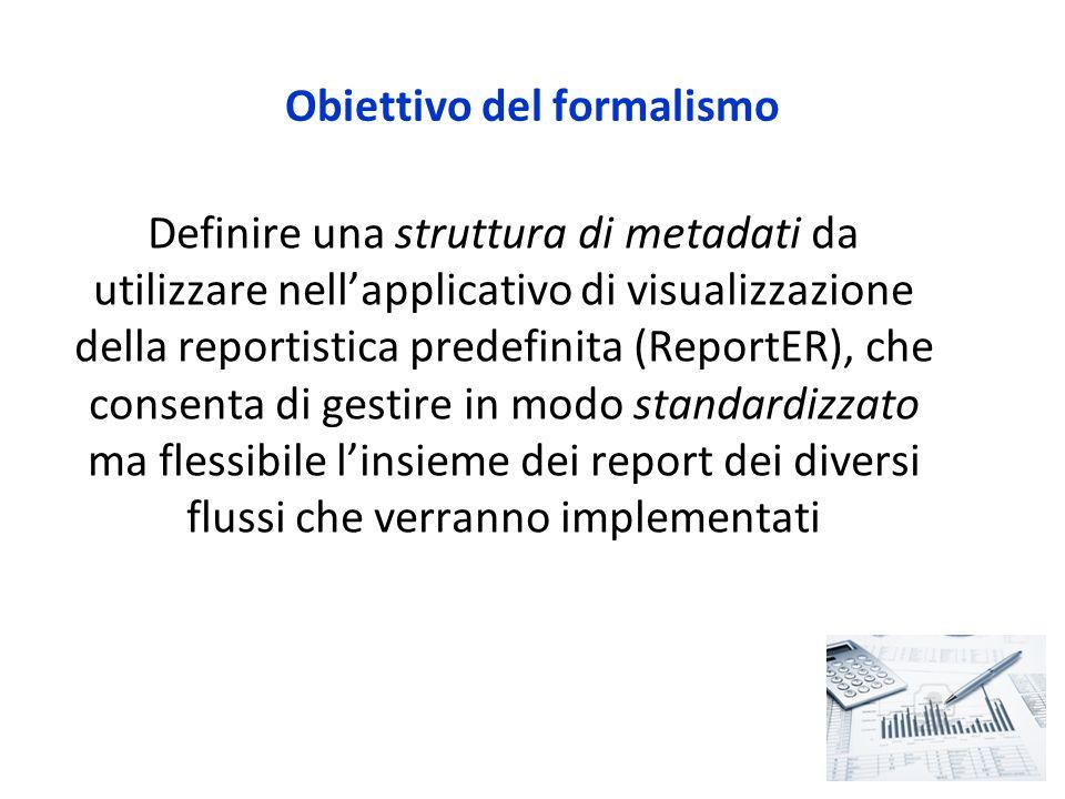 Obiettivo del formalismo Definire una struttura di metadati da utilizzare nell'applicativo di visualizzazione della reportistica predefinita (ReportER), che consenta di gestire in modo standardizzato ma flessibile l'insieme dei report dei diversi flussi che verranno implementati