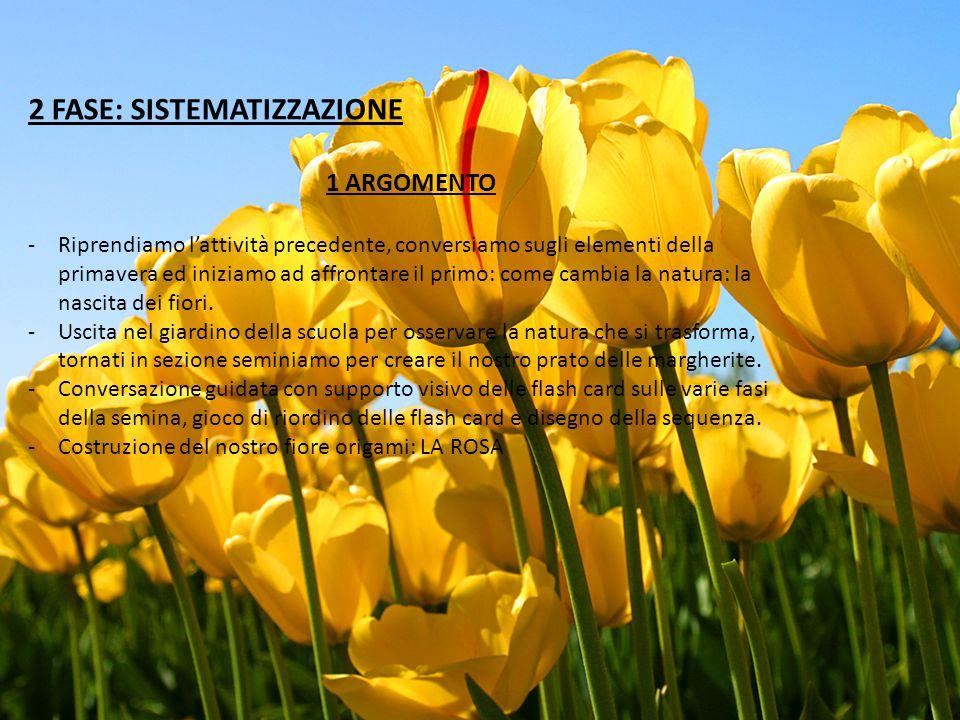 2 FASE: SISTEMATIZZAZIONE 1 ARGOMENTO -Riprendiamo l'attività precedente, conversiamo sugli elementi della primavera ed iniziamo ad affrontare il primo: come cambia la natura: la nascita dei fiori.
