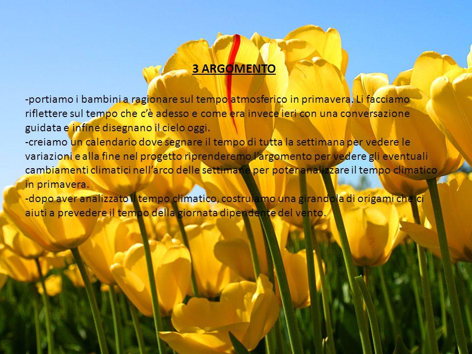 3 ARGOMENTO -portiamo i bambini a ragionare sul tempo atmosferico in primavera. Li facciamo riflettere sul tempo che c'è adesso e come era invece ieri