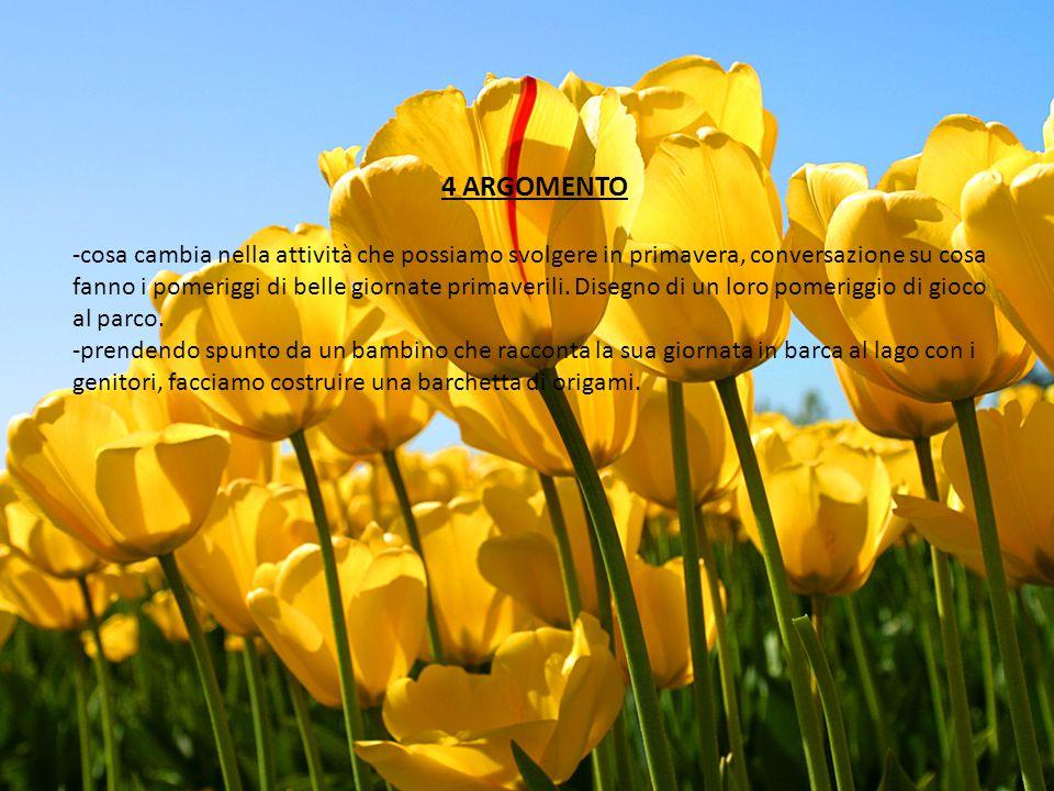 4 ARGOMENTO -cosa cambia nella attività che possiamo svolgere in primavera, conversazione su cosa fanno i pomeriggi di belle giornate primaverili. Dis