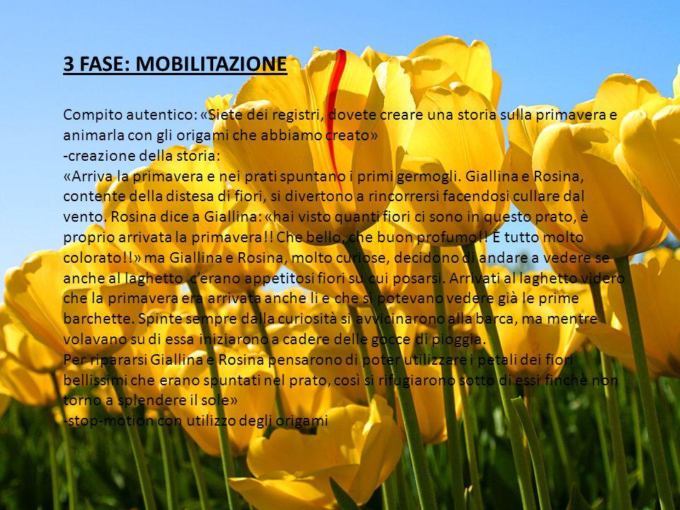 3 FASE: MOBILITAZIONE Compito autentico: «Siete dei registri, dovete creare una storia sulla primavera e animarla con gli origami che abbiamo creato» -creazione della storia: «Arriva la primavera e nei prati spuntano i primi germogli.