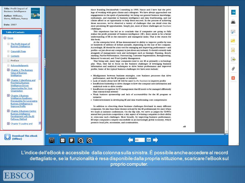 L'indice dell'eBook è accessibile dalla colonna sulla sinistra. È possibile anche accedere al record dettagliato e, se la funzionalità è resa disponib