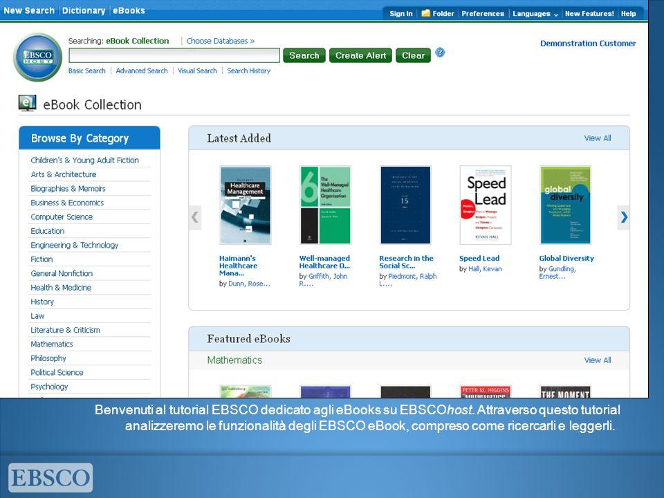 Benvenuti al tutorial EBSCO dedicato agli eBooks su EBSCOhost. Attraverso questo tutorial analizzeremo le funzionalità degli EBSCO eBook, compreso com