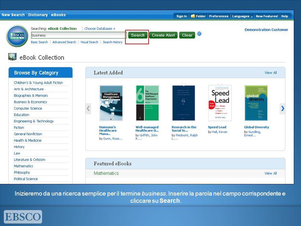 Inizieremo da una ricerca semplice per il termine business. Inserire la parola nel campo corrispondente e cliccare su Search.