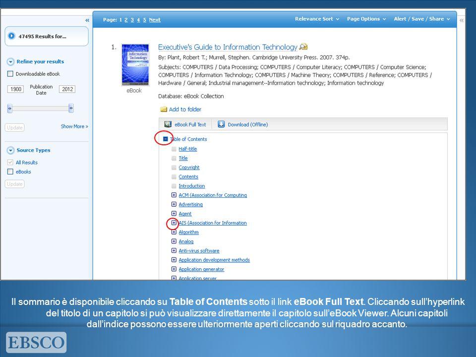 Il sommario è disponibile cliccando su Table of Contents sotto il link eBook Full Text. Cliccando sull'hyperlink del titolo di un capitolo si può visu