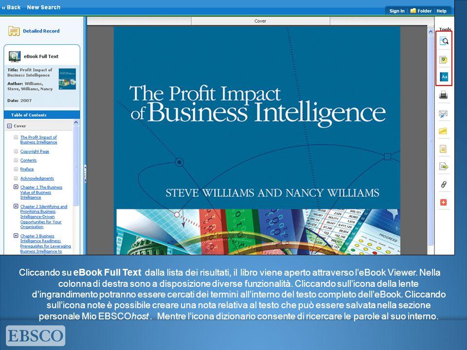 Cliccando su eBook Full Text dalla lista dei risultati, il libro viene aperto attraverso l'eBook Viewer. Nella colonna di destra sono a disposizione d