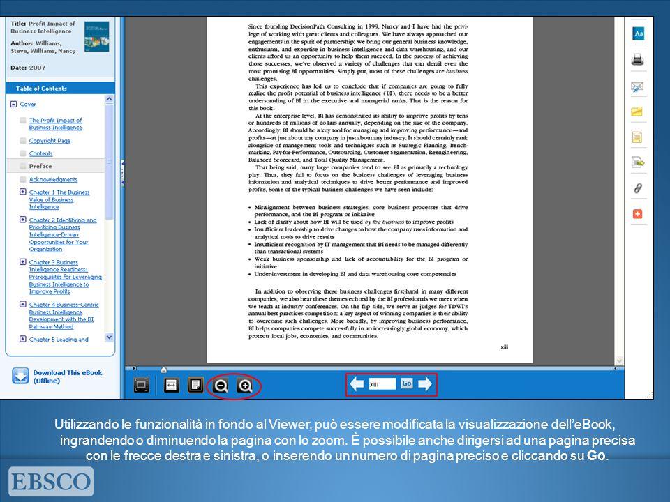 Utilizzando le funzionalità in fondo al Viewer, può essere modificata la visualizzazione dell'eBook, ingrandendo o diminuendo la pagina con lo zoom.