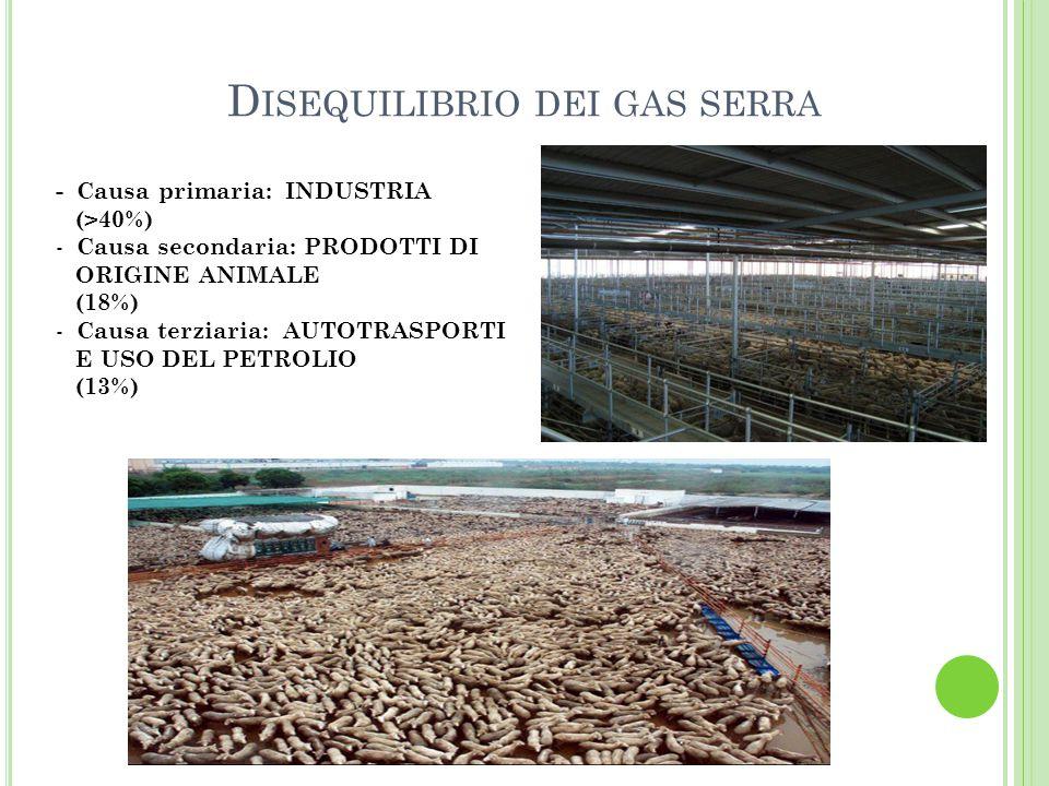 D ISEQUILIBRIO DEI GAS SERRA - Causa primaria: INDUSTRIA (>40%) - Causa secondaria: PRODOTTI DI ORIGINE ANIMALE (18%) - Causa terziaria: AUTOTRASPORTI